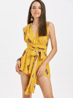 Surplice Printed Wrap Romper - Bee Yellow L