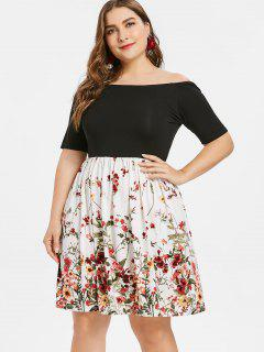 Plus Size Off The Shoulder Flare Dress - Black 1x