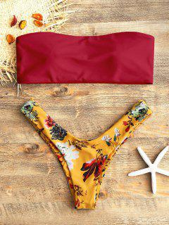 Bandeau Top And Floral High Cut Swim Bottoms - Red L