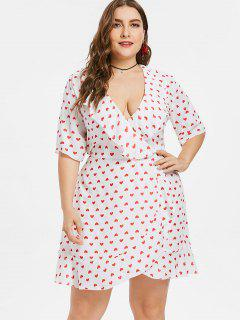Plus Size Hearts Print Ruffled Plunge Dress - White 4x