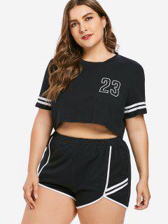 Plus Size Number Striped Shorts Set - Black L
