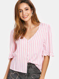 Puff Sleeve Frilled Striped V Neck Shirt - Pig Pink S