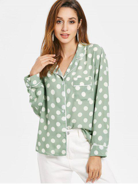 Shirt Pyjama Patch avec Poche à Pois - Vert S Mobile
