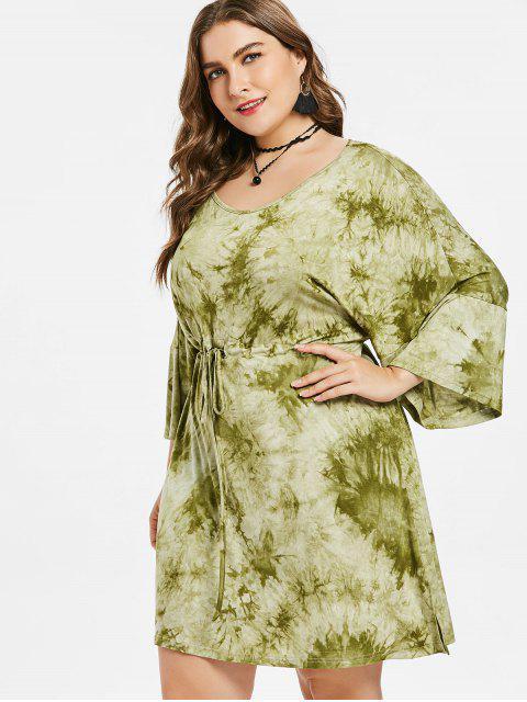 affordable Plus Size Slit Tie Dye Dress - AVOCADO GREEN 2X Mobile