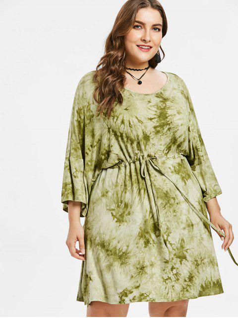 Vestido de teñido anudado de la raya más el tamaño - Verde de Aguacate  1X Mobile
