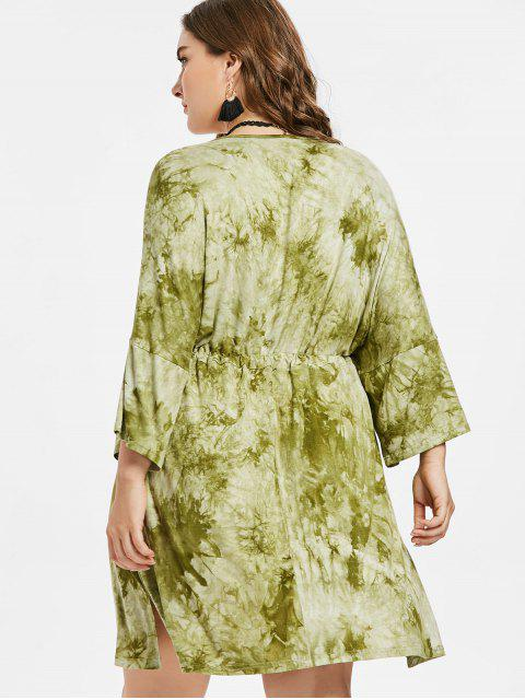 womens Plus Size Slit Tie Dye Dress - AVOCADO GREEN L Mobile