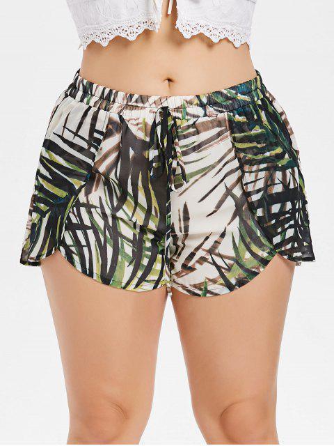 Pantalones cortos superpuestos con hojas talla grande - Verde Marrón Claro 1X Mobile