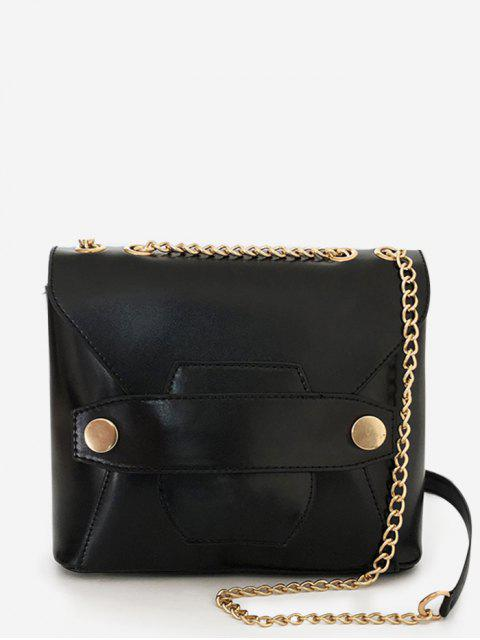 women PU Leather Vintage Minimalist Daily Crossbody Bag - BLACK  Mobile