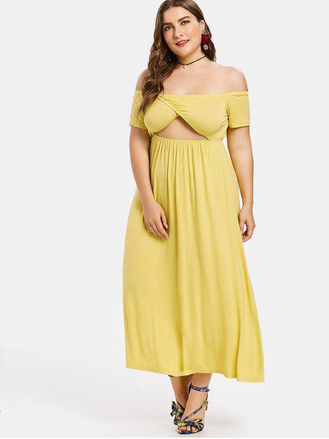 latest Plus Size Off Shoulder Midi Dress - YELLOW 3X Mobile