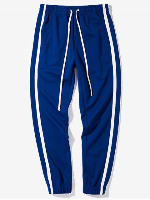 best Elastic Waist Contrast Color Striped Casual Pants - EARTH BLUE XL Mobile