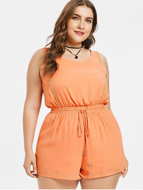 hot Plus Size Drawstring Tank Romper - ORANGE PINK 2X Mobile