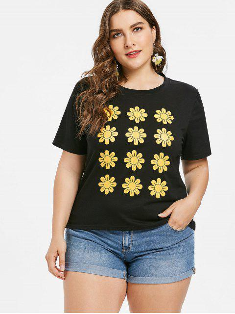 Camiseta estampada con estampado de flores - Negro L Mobile