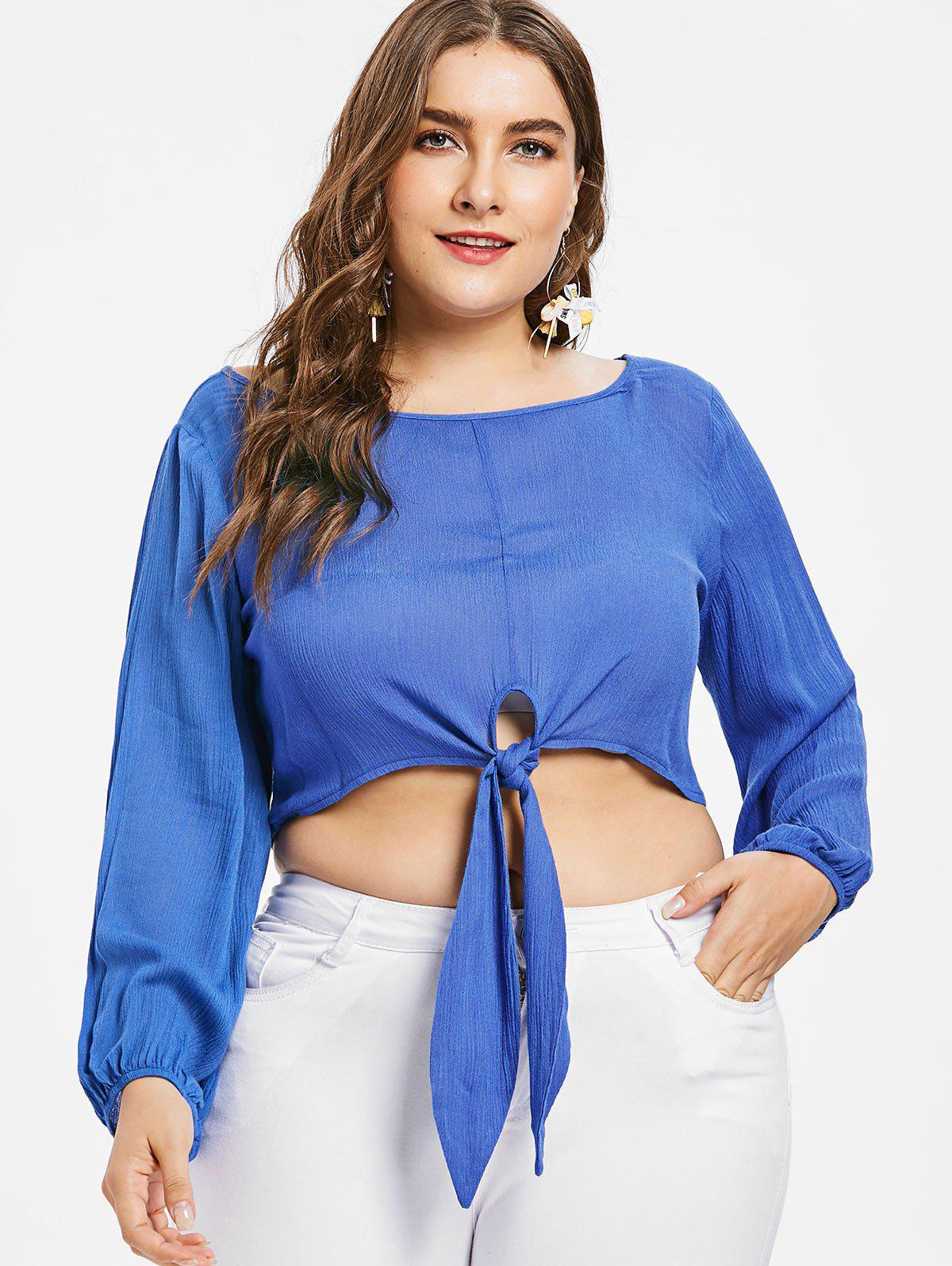 Plus Size Front Knot Crop Top, Sapphire blue