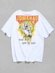 قميص بطبعة شعار جرافيك - أبيض M
