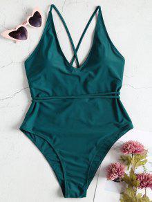 بالاضافة الى حجم قطع عالية ملابس السباحة قطعة واحدة - ازرق مخضر 1x