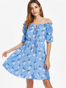 قبالة الكتف فستان ميدي - ضوء السماء الزرقاء L