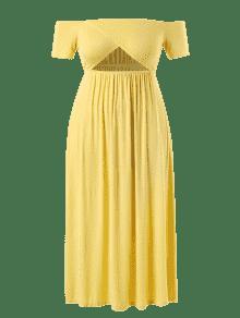 L Media Vestido Pierna A Hombros Amarillo Con Descubiertos FWq0Z1w8