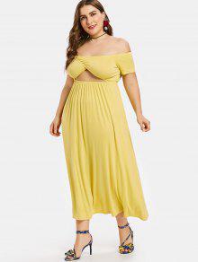 L Vestido Descubiertos Hombros Pierna Amarillo Con Media A CC8wqgv
