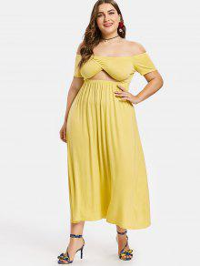 afc2427048678 64% OFF  2019 Plus Size Off Shoulder Midi Dress In YELLOW 3X