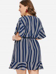Medianoche Y Con Volantes De Cuello Rayas De Azul A Redondo Vestido Sobrepelliz L xYqwFPfWa