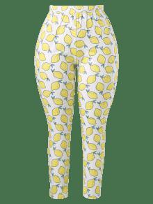 Plus Blanco L Size Pitillo Pantalones Lemons qTwRExfZ