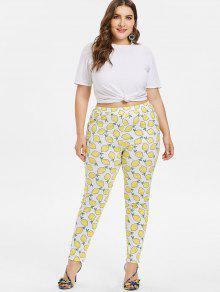 Blanco Size Lemons Pitillo Pantalones Plus L OqIv7Ft