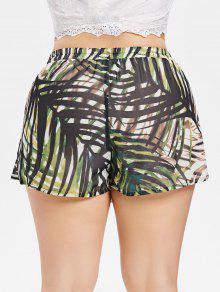 243;n Talla Superpuestos Hojas Cortos Pantalones Marr Verde Con Claro 1x Grande wnHFaII8qx