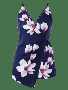 1x Guerra Romper De Size Marina Plus Flowers Cami Plunge 1THxqP