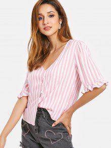 Y Con Camisa Rosa V S Fruncida Con En Volantes Cuello Manga Cerdo YIBYTwr