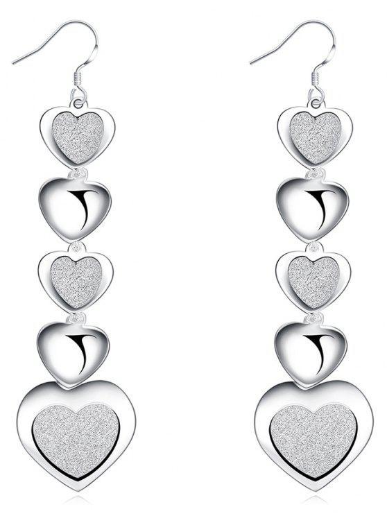 Brincos de gancho de coração pingente elegante - Prata