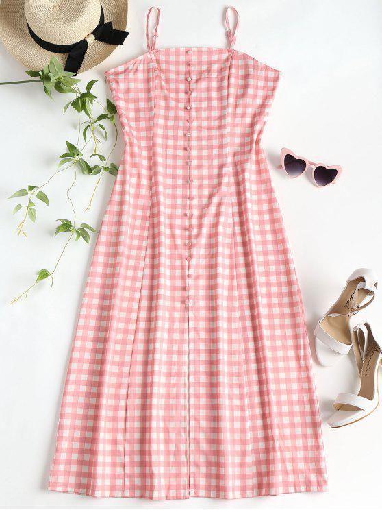 trendy Slit Gingham Midi Dress - PINK S