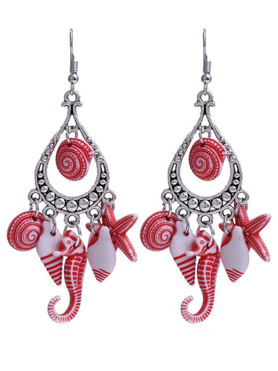 sale Hippocampus Star Shell Decorative Fringed Hook Earrings - RED
