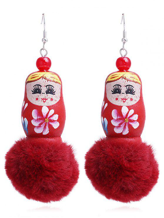 affordable Unique Fuzzy Ball Russian Doll Hook Earrings - RED
