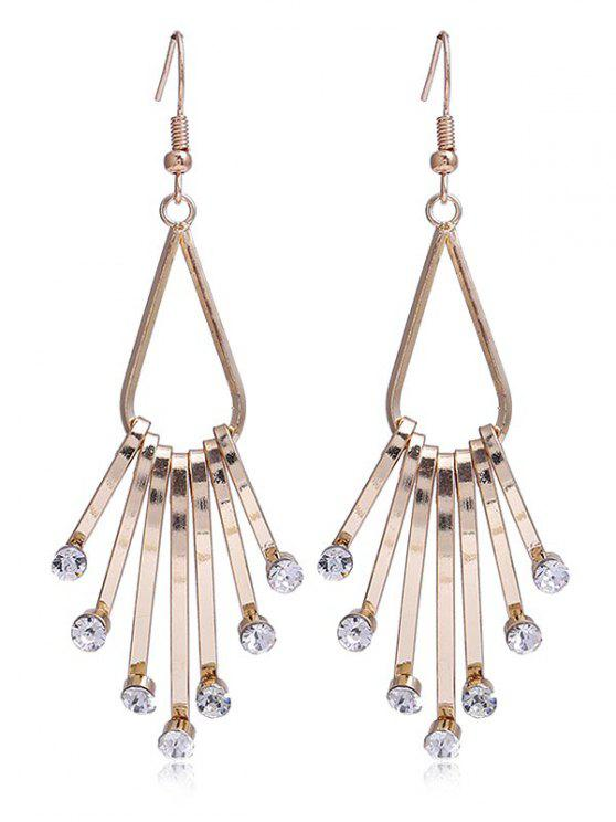 buy Unique Faux Crystal Alloy Fringed Hook Earrings - WHITE
