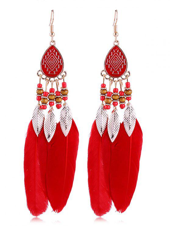 womens Vintage Beaded Feather Bohemian Earrings - RED