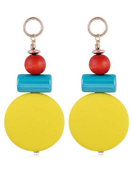women's Unique Round Balls Resin Drop Earrings - YELLOW