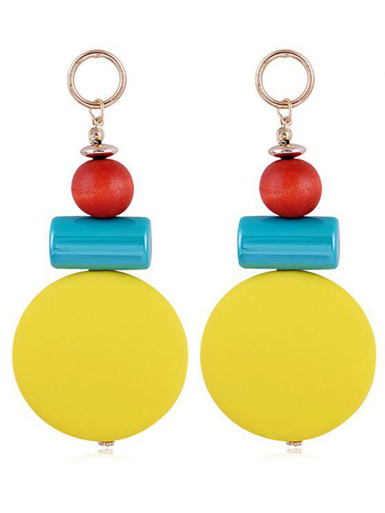 Brincos de gota de resina redonda única Balls - Amarelo