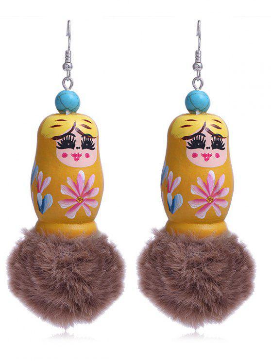 Pendientes de gancho de muñeca rusos Fuzzy Ball exclusivos - Amarillo de Sol