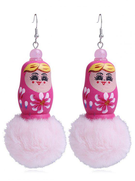 lady Unique Fuzzy Ball Russian Doll Hook Earrings - ROSE RED
