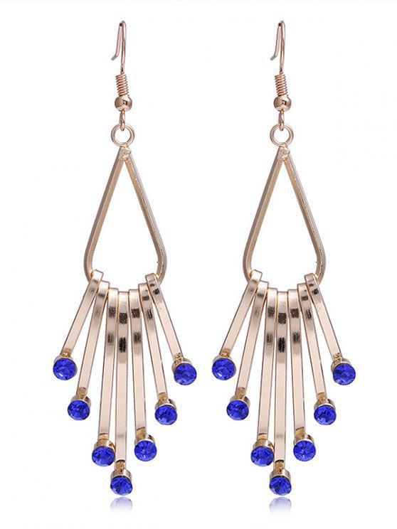 Brincos de gancho franjado de liga de cristal do falso exclusivo - Azul