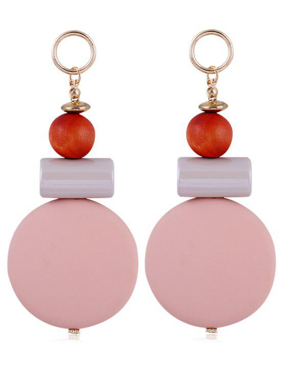 hot Unique Round Balls Resin Drop Earrings - PINK