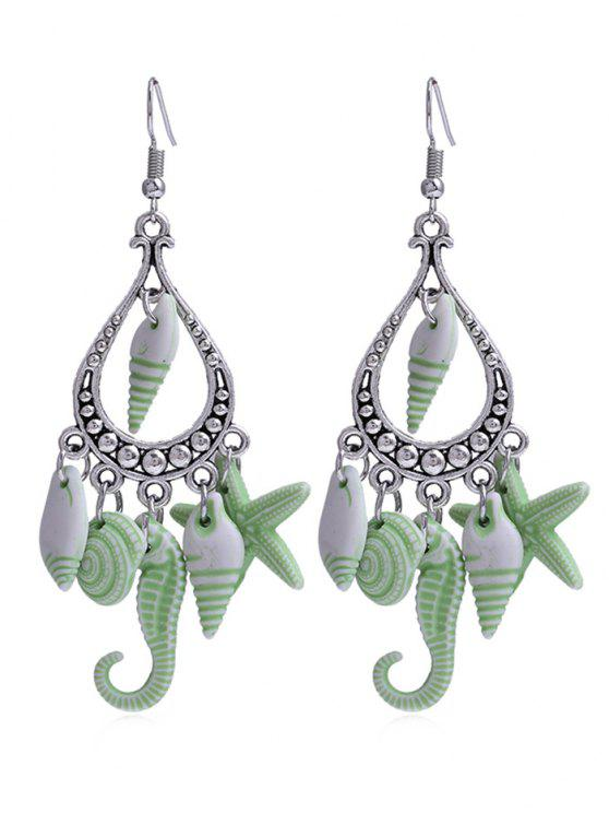 sale Hippocampus Star Shell Decorative Fringed Hook Earrings - GREEN