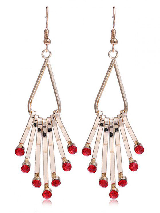 women Unique Faux Crystal Alloy Fringed Hook Earrings - RED
