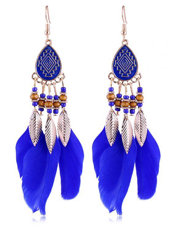 Boucles d'Oreilles Motif Plume et Perle Style Vintage - Bleu Royal