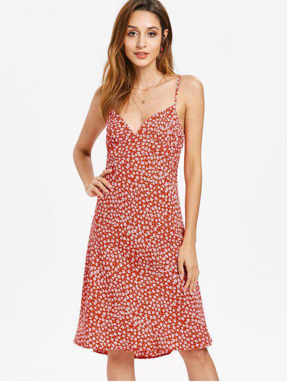 Side Zipper Floral Cami Dress - Vermelho M