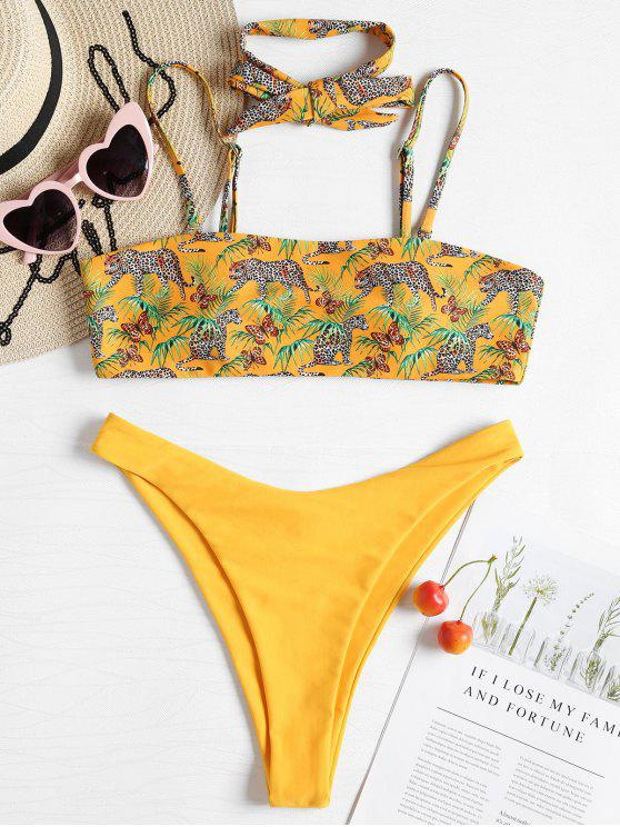 outfit Leopard Tube High Cut Bikini - RUBBER DUCKY YELLOW L