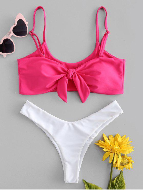Zweifarbiger Vorder Knoten Bikini - Dunkelrosa S