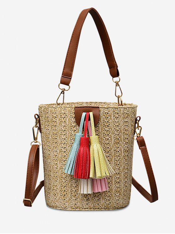 Straw Bucket Shaped Straw Leisure Tassels Tote Bag - Caqui Claro
