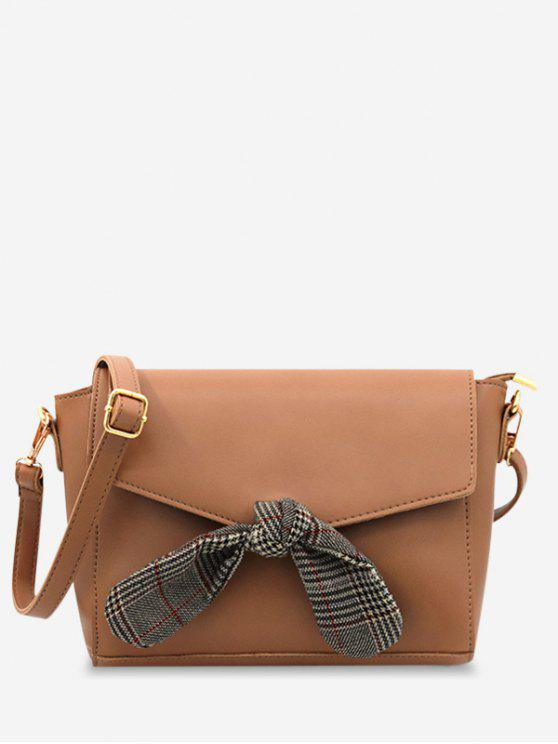 Flap Bow Embellished Faux Leather Casual Crossbody Bag   Brown by Zaful