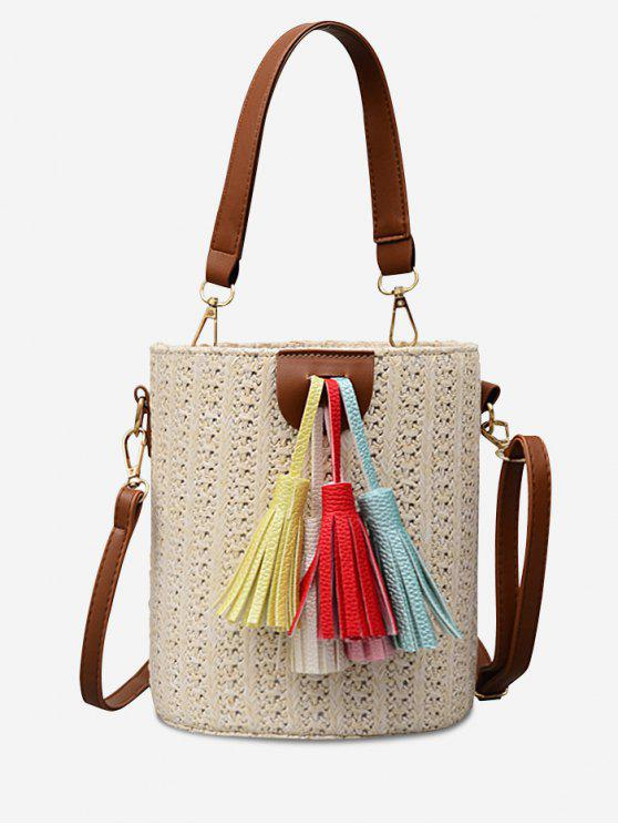 Straw Bucket Shaped Straw Leisure Tassels Tote Bag - Beige